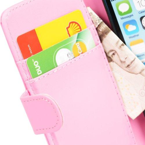 MADCASE Apple iPhone 5C Premium Leder/Harthülle/Gel/Silikon/Strapazierfähig/Durchsichtig/Klar/Portemonnaie/Kreditkartenhalter Flip Case Bumper Ständer Hülle mit Display Schutz und Eingabestift - Weich Smooth PU Leather - Baby Pink