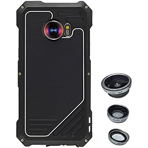 Skitic Antiurto Custodia Cover per Samsung Galaxy S7 Edge, 3 in 1 Camera Lens Kit (Foto Nero Doppio Mat)