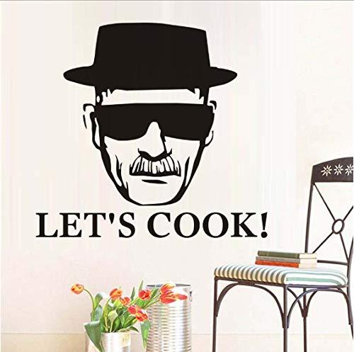 Let's Cook Mann Mit Brille Wandaufkleber Kunst Wandbilder Abnehmbare Selbstklebende Tapete Wohnzimmer Schlafzimmer Aufkleber Wohnkultur