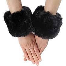 Piel sintética de pelo suave muñequera anillo manguito Cozy Fuzzy cálido calentador negro