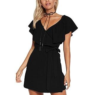 YOINS Kleid Damen Sommer Kurz V-Ausschnitt Schulterfrei Kleider Elegant Strandkleider Minikleid Partykleider Schwarz(Größer als Reguläre Größe) M/EU40-42