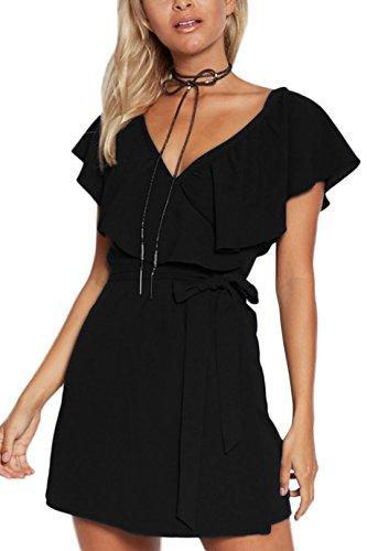 YOINS Kleid Damen Sommer Kurz V-Ausschnitt Schulterfrei Kleider Elegant Strandkleider Minikleid Partykleider Schwarz(Größer als Reguläre Größe) XS/EU32-34