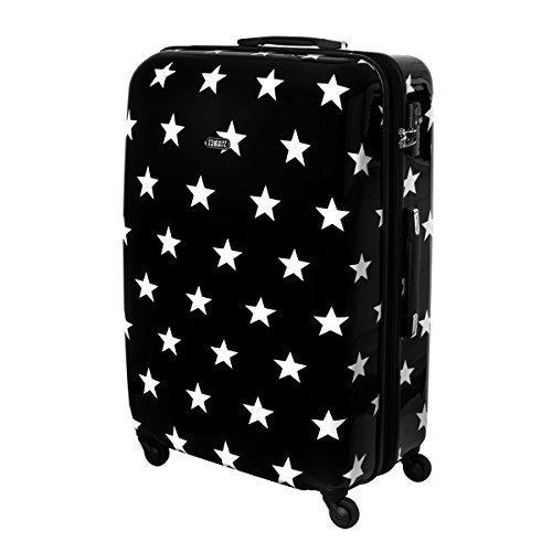 XXL Karry Hartschalen Reise Koffer Reisekoffer Trolley TSA Zahlenschloss 110 Liter Sterne Schwarz 820