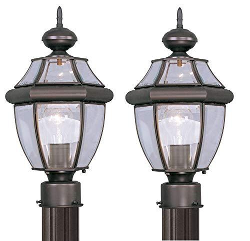 Livex 2153 Außenpfostenkopf Monterey 8,5 Durchm. in. bronze 2 Pack - Bronze 2-glühbirne