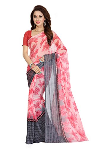 Ishin Faux Georgette Grey & Pink Printed Women's Saree  available at amazon for Rs.299