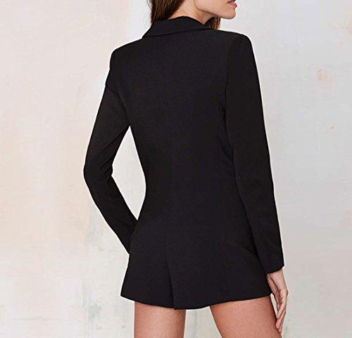 QIYUN.Z Manches Longues Femmes Hiver / Automne Combinaison Sexy Mince V Profond Col Classique Noir Noir