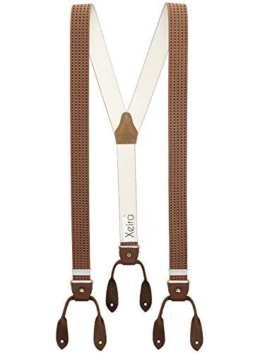 Hochwertige Hosenträger von Xeira® in Vintage Gestreiften Design mit Vintage Lederriemen (Normale Länge, Braun / Bordeaux / Punkte)