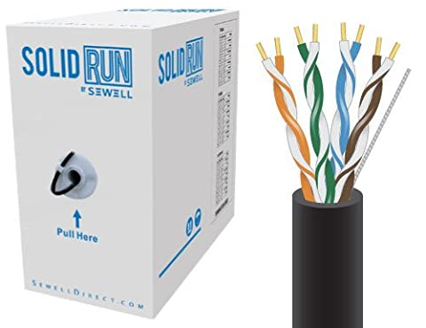 SolidRun by Sewell, Cat5e Bulk Cable, 76M., UTP, CMR, Pull Box (Black)