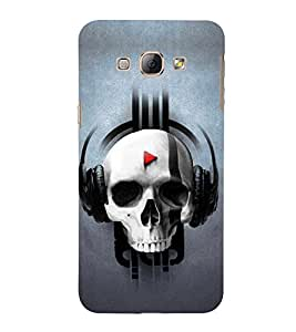 Skull Listening Music 3D Hard Polycarbonate Designer Back Case Cover for Samsung Galaxy A8 (2015 Old Model) :: Samsung Galaxy A8 Duos :: Samsung Galaxy A8 A800F A800Y