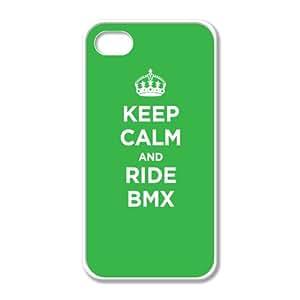 Blanc Coque en caoutchouc pour iPhone 4/4S Motif KEEP CALM and RIDE :  BMX Vert citron vert clair accessoires WWII Parodie avec un étui en caoutchouc (Blanc)