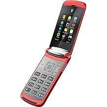 Binatone Blade Flip Phone - Teléfono móvil Dual Sim, Bluetooth, Cámara, USB, Radio FM, sin dispositivo de seguridad, teléfono móvil en diseño retro, color rojo, tapa roja