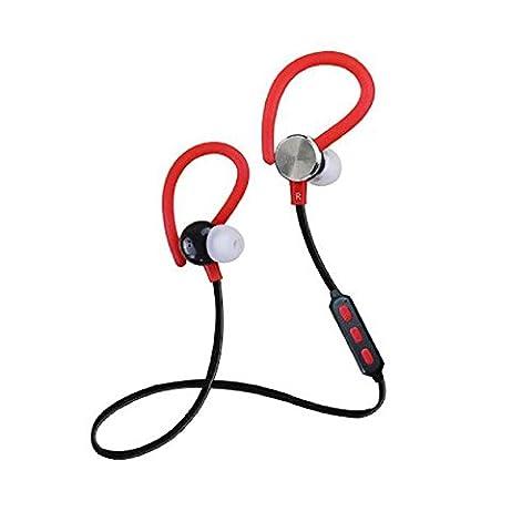 Rouge Ecouteurs, Covermason Casque sans fil Bluetooth Headset me demande Sports Ecouteurs pour iPhone
