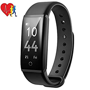 Fitness Tracker with Heart Rate Monitoring, Mpow H2 Pedometer with Steps Tracking, Calorie Burned, Distance Traveled, Route Painted, Wristwatch with Multiple Sport Modes, Call, Text and SNS Notifications, Adjustable Vibration Intensity