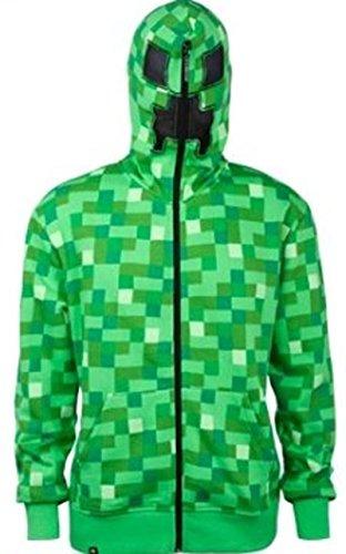 J!NX Offizielles Minecraft-Creeper-Herren Premium Zip Up Hoodie Gr. XS, grün