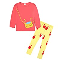 Guandiif Kids Girls Outfits Cat Cartoon Long Sleeve T-Shirt and Leggings Set 4-5 Years Watermelon Red