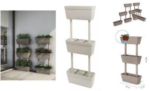 Set kit 3 vasi vaso fioriera fioriere bianco da parete h,100x17x50cm