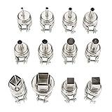 Kit de boquillas de pistola de calor para 850 estaciones de soldadura de aire caliente Kit de soldador Electrónica Herramienta de reparación de boquillas de aire caliente Accesorio - Paquete de 12