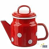 matches21 Trendige Email Teekanne / Kaffeekanne rot gepunktet nostalgisches Emaille Geschirr je 17x12 cm / 1000 ml