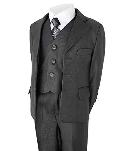 Jungen 5 Stück Anzug Hochzeit Party Jacke Hose Hemd Weste Krawatte - grau, Größe 98 - Schwarzen Anzug Hose Flach Vorne
