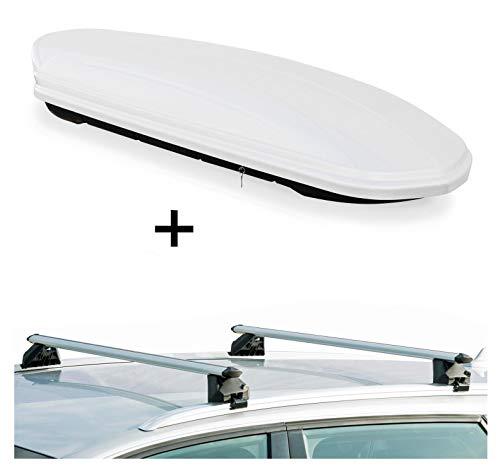 Dachbox VDPMAA460 460Ltr weiß abschließbar + Dachträger CRV107A kompatibel mit Peugeot 3008 (5 Türer) ab 2016