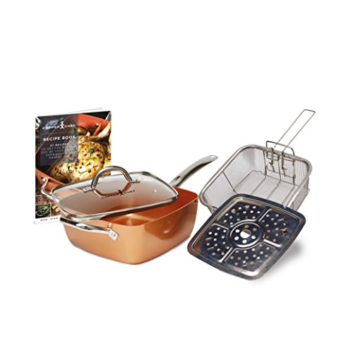 Copper Chef Non-Stick Deep Sided Square Pan Kit, Copper, 9.5-Inch, Large, 5-Piece Set