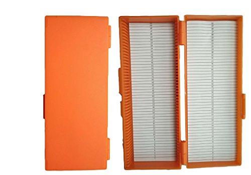 Aufbewahrungsbox mit 50 Steckplätzen für Glas-Objektträger, Orange, 1 - Abdeckungen Objektträger Mit
