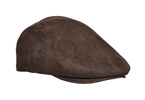 Echter BRAUN Suede Aus Weichem Leder Flatcap Englischer Großvater-Hut Baker-Junge Klassiker-Kappe - EARL (L - 59) (Wildleder Newsboy Hut)
