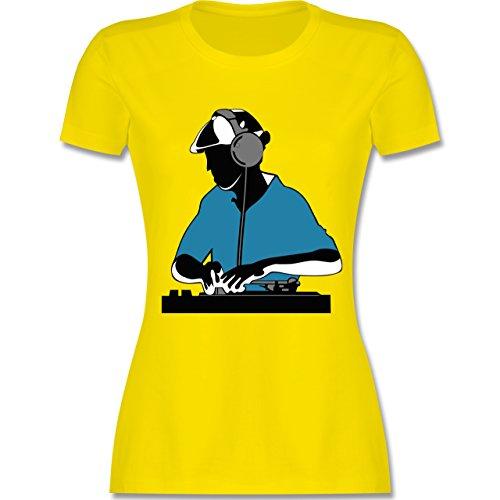 DJ - Discjockey - Discjockey - tailliertes Premium T-Shirt mit Rundhalsausschnitt für Damen Lemon Gelb