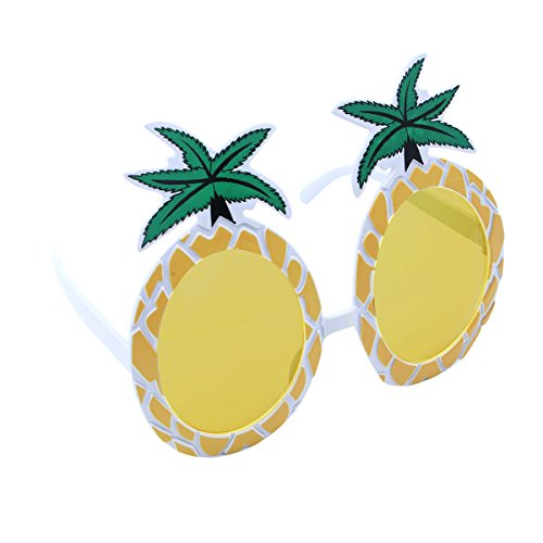 Party Und Accessoires Beach Kostüm - LUOEM Ananas Brillen Neuheit Brillen Sonnenbrillen Hawaii Luau Party Supplies Sommer Tropical Beach Party Dekoration (gelb)