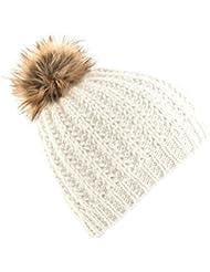 Beechfield - Bonnet tricoté à pompon en fausse-fourrure - Femme