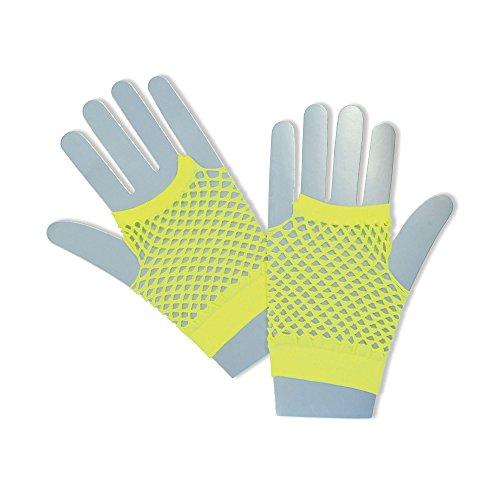 Bristol Novelty ba573Fischnetz Handschuhe kurz neon gelb, One Size