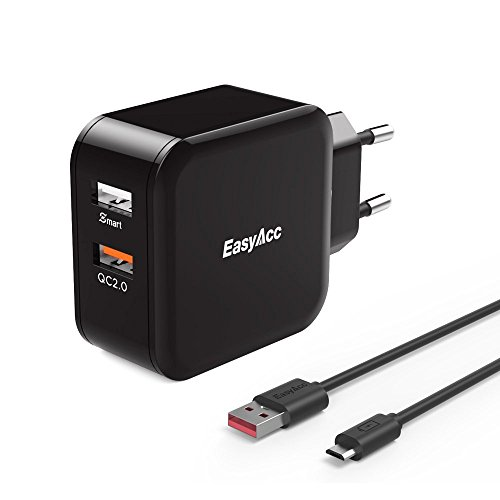 [Quick Charge 2.0] EasyAcc 30W 2-Port USB Ladegerät mit Quick Charge an einem Ausgang für Galaxy S6 / S6 Edge / Edge+, Nexus 6, iPhone iPad - Schwarz (Handy-ladegerät-wand-motorola)