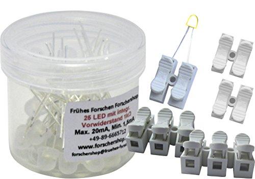 Preisvergleich Produktbild 25 LEDs weiss mit eingebautem Widerstand + 5 Press-Lüsterklemmen (2- und 3-fach) - einfache Handhabung