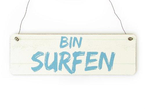 Interluxe Shabby Vintage Schild Türschild Bin SURFEN Holzschild Surfer Dekoration Geschenk