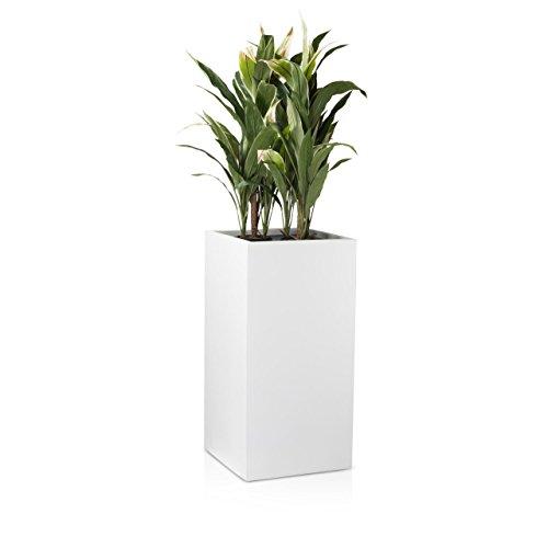 Pflanzkübel Blumenkübel TORRE 80F Fiberglas, 40x40x80 cm, weiß matt. wetterfest und frostbeständig. Pflanzgefäß