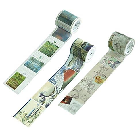 3 Rollen kreativer Briefpapier Brief Klebstoff Washi Klebeband Büromaterial DIY Aufkleber Abdeckband 4cm * 7m