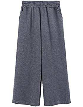 YAANCUN Mujer Espesar Pantalones Anchos Moda Sueltos Palazzo Pantalon Casual Talle Alto Harem Pants Otoño e Invierno