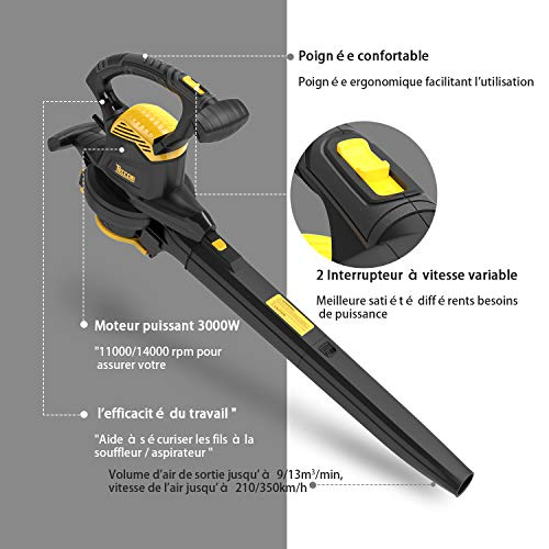 Souffleur électrique, 3000W TECCPO Souffleur, Aspirateur Souffleur Broyeur fonction 3 en 1, sac à dos 40 litres, vitesse de soufflage variable 210-350km / h,Souffleur de Feuille - TABV01G
