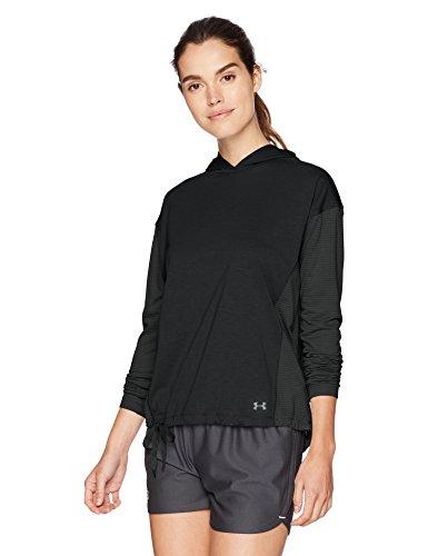 Under armour, threadborne hoody, maglia a maniche lunghe, donna, nero (black/black/metallic silver 001), s