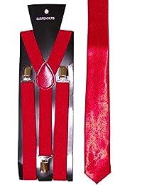Plain Tie & Adjustable Braces - neon (Red)