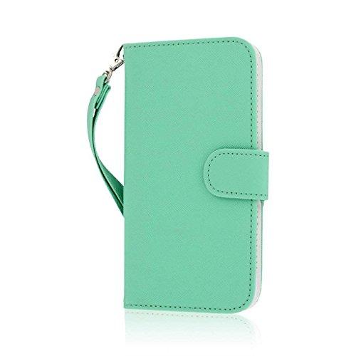 MPERO FLEX FLIP Wallet Case Hülle Tasche für Apple iPhone 6 Plus - Schwarz Lace grün