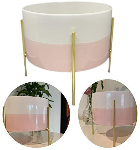 LS-Design Keramik Übertopf Gestell Rosa Gold 26cm Metall Ständer Deko Blumentopf