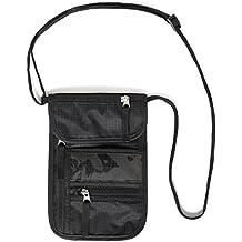 Portadocumentos de cuello de Walden Nomad Gear Co. | Bolsa bandolera de viaje negra y robusta con 5 bolsillos (1 para móvil), ideal para hombre, mujer y niño. Cartera porta pasaporte on bloqueo