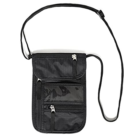 Travel neck pouch by Walden Co. | Slim, sturdy black neck wallet with 5 waterproof pockets for men, women & kids. Soft, invisible with RFID security: ideal for money, mobile phone / iphone, passport.