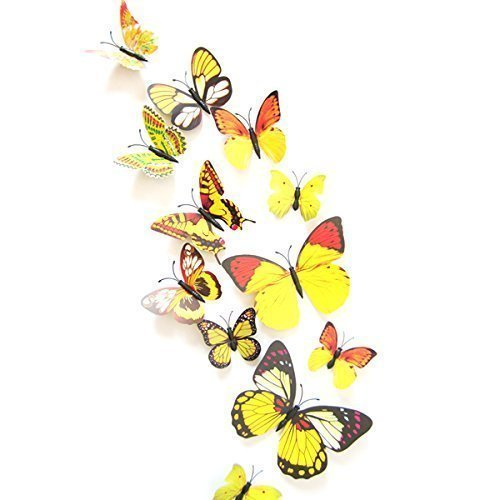 Butterfly Sticker -12 PCS 3D Butterfly Wall Stickers Decor Art Decorations Butterfly Wall Decals Removable DIY Home Decorations Art Decor Wall Stickers For Wall Decor Home Art Kids Room Bedroom Decor Card Making Stickers Buy Shuban -Yellow