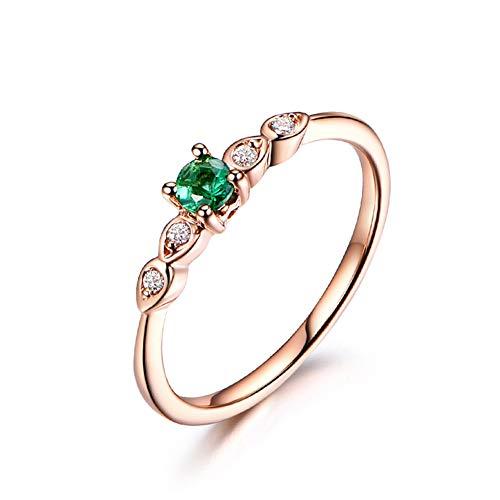 Gems.RDX Ring Smaragd Rubin Edelstein Mode 18 Karat Roségold Diamant Motivring Jubiläum Hochzeit Engagement Elegante Damen Schmuck,Emerald,Y (Rubin-diamant-ring Engagement)
