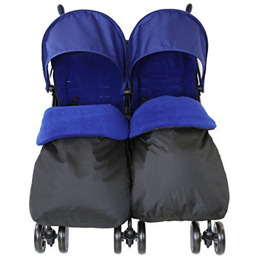 Zeta Citi TWIN Stroller Buggy Pushchair – Navy (Dark Blue) Double Stroller Complete With FootMuffs