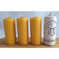 4 Stück Kerzen, 12 x 5 cm, Stumpenform, aus 100 % Bienenwachs handgemacht, gegossen, mit langer Brenndauer, Bienenwachskerzen, Bienenwachskerze, Honigkerze, Bienenkerze, direkt vom Imker aus Deutschland, Bayern, von der Bienenbude