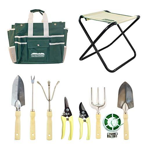 10 Piezas – Herramientas de jardín el set incluye taburete plegable, bolsa de almacenamiento, 5 herramientas de Jardinería de acero Inoxidable – 2 podadoras y un rollo de 100 pies