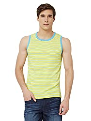 Hammock Mens Sleeveless Tank Top - Striped Lemon Yellow (Medium)